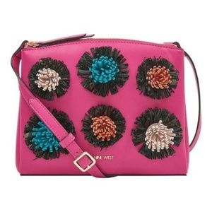 Nine West Levona Crossbody with Poms Fuchsia